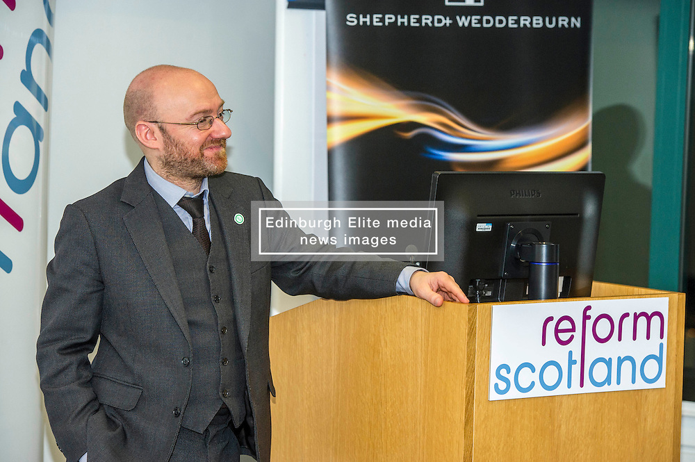 Pictured: Patrick Harvie<br /> Green Party co-convener Patrick Harvie delivered an address to Reform Scotland. This is the second event, organised by Shepherd and Wedderburn, in the think tank's series of speeches on the Scottish Government's tax and spending plans.<br /> <br /> Ger Harley   EEm 7 February 2017