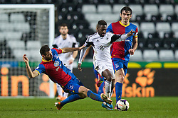 SWANSEA, WALES - Sunday, March 2, 2014: Swansea City's Nathan Dyer in action against Crystal Palace's Joe Ledley during the Premiership match at the Liberty Stadium. (Pic by David Rawcliffe/Propaganda)