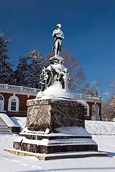 Snow covered statue of Thomas Jefferson at the University of Virginia, Charlottesville, Virginia