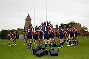 Photo: Richard Lane.<br /> New Zealand Maori training at Rugby School. Barclays Churchill Cup 2007. 21/05/2007.<br /> New Zealand Maori team warm up.