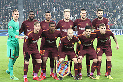 November 22, 2017 - Turin, Italy - Barcelona team (Marc-Andre ter Stegen, Samuel Umtiti, Paulinho, Ivan Rakitic, Sergio Busquets, Gerard Pique, Gerard Deulofeu, Nelson Semedo, Andres Iniesta, Luis Suarez, Lucas Digne) poses in order to be photographed before the Uefa Champions League group stage football match n.5 JUVENTUS - BARCELONA on 22/11/2017 at the Allianz Stadium in Turin, Italy. (Credit Image: © Matteo Bottanelli/NurPhoto via ZUMA Press)