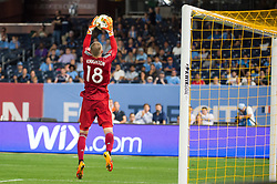 September 5, 2018 - Bronx, New York, United States - New England Revolution goalkeeper BRAD KNIGHTON #18 jumps to stop a corner kick during a regular season match at Yankee Stadium in Bronx, NY.  New England Revolution defeats New York City FC 1 to 0 (Credit Image: © Mark Smith/ZUMA Wire)