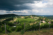 View over the Südsteirische Weinstrasse (Southern Styrian Wine Road) towards Slovenia.