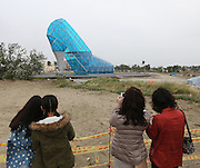 CHIAYI, CHINA - JANUARY 10: (CHINA OUT) <br /> <br /> People look at a glass church in the shape of a high-heeled shoe at a park on January 10, 2016 in Chiayi, Taiwan of China. The church will be open to the public before the Spring Festival.<br /> ©Exclusivepix Media