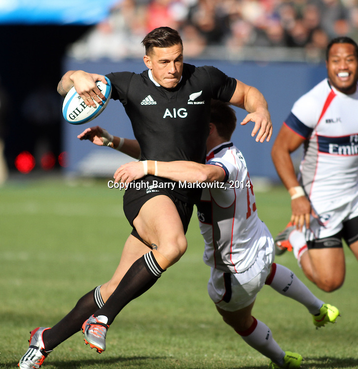 Sony Bill Williams advances the ball for NZ during the opening minutes of play.  The legendary New Zealand All Blacks defeated the USA Eagles 74-6 at Soldier Field, Chicago, Illinois, USA.  Photo by Barry Markowitz, 11/1/14, 3pm