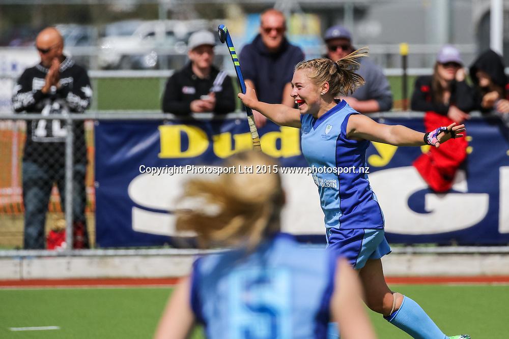 Northland's Hannah Haughn celebrates scoring. NHL Womens Hockey Semi-Final. Canterbury v Northland. Whangarei. New Zealand. 19 September 2015. Copyright Photo: Heath Johnson / www.photosport.nz