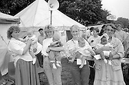 Babies up to 6 months old l to r; 4th Christopher Ainsworth, Wakefield;  3rd Lee Hammond, Wistow; 2nd Kirsty Penn, Wakefield; 1st Kerry Armitage, Stillingfleet;  1988 Yorkshire Miner's Gala. Wakefield.