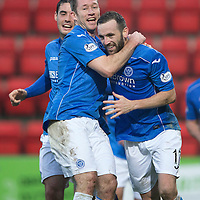 St Johnstone v Ross County....22.11.14   SPFL<br /> James McFadden celebrates his goal with Frazer Wright and Brian Graham<br /> Picture by Graeme Hart.<br /> Copyright Perthshire Picture Agency<br /> Tel: 01738 623350  Mobile: 07990 594431