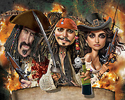Caricature: On Stranger Tides. Another comedic action treasure chest with Johnny Depp as Cap'n Jack Sparrow, Penélope Cruz as Angelica Teach and Keith Richards as Captain Teague. Originally created for Penthouse Magazine.