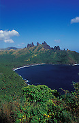 Beautiful rock formations on the island of Nuku Hiva, Marquesa islands,French Polynesia, South Pacific