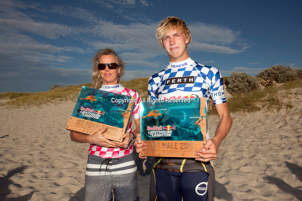 10th December 2017, Leighton Beach, Perth, Australia; Red Bull Lighthouse to Leighton kiteboard race; Race winners and mother and son from the UK Steph Bridge and Olly Bridge pose with their trophies