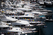 May 23-27, 2018: Monaco Grand Prix. Yachts in Monaco harbor