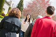 Sophomore Annaluz Torres gives a campus tour. Photo by Libby Kamrowski