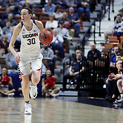 Breanna Stewart, UConn, brings the ball up the court watched by Head Coach Geno Auriemma during the UConn Huskies Vs East Carolina Pirates Quarter Final match at the  2016 American Athletic Conference Championships. Mohegan Sun Arena, Uncasville, Connecticut, USA. 5th March 2016. Photo Tim Clayton