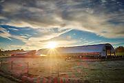 Beautiful dairy barn at sunset shot on a Fuji XT1