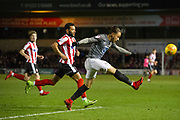 Coventry City Midfielder Jodi Jones clears the ball from the Coventry box during the EFL Sky Bet League 2 match between Lincoln City and Coventry City at Sincil Bank, Lincoln, United Kingdom on 18 November 2017. Photo by Craig Zadoroznyj.
