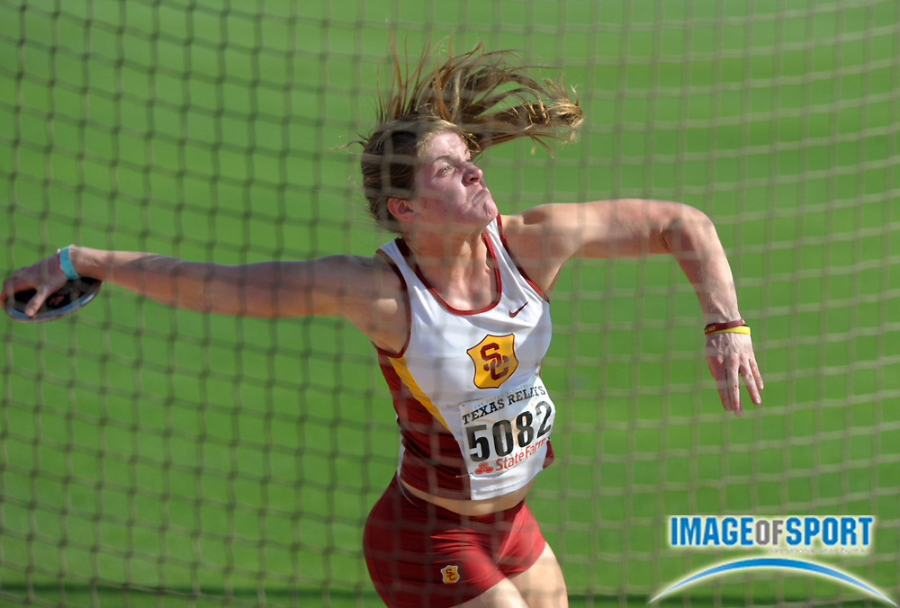 Mar 30, 2012; Austin, TX, USA; Alex Collatz of Southern California places second in the womens discus at 173-5 (52.87m) in the 85th Clyde Littlefield Texas Relays at Mike A. Myers Stadium.