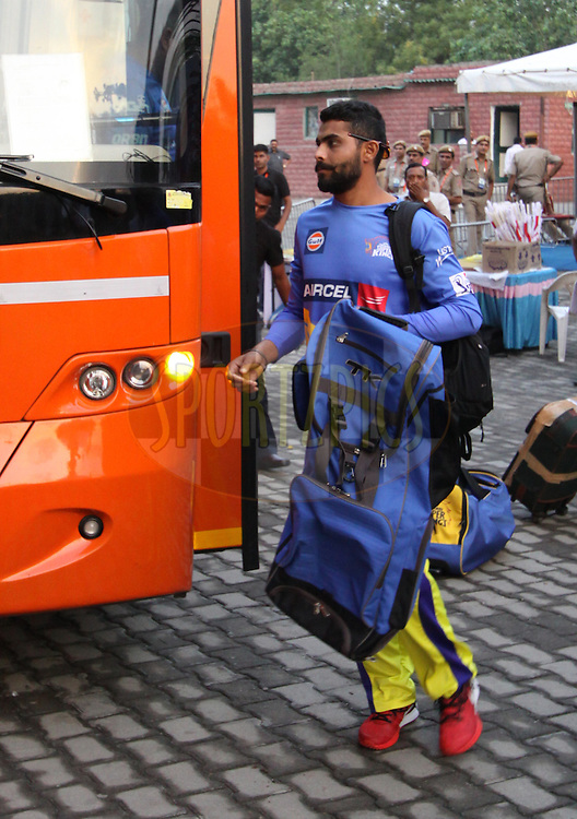 Ravindra Jadeja of The Chennai Superkings arrive before  match 26 of the Pepsi Indian Premier League Season 2014 between the Delhi Daredevils and the Chennai Superkings held at the Ferozeshah Kotla cricket stadium, Delhi, India on the 5th May  2014<br /> <br /> Photo by Arjun Panwar / IPL / SPORTZPICS<br /> <br /> <br /> <br /> Image use subject to terms and conditions which can be found here:  http://sportzpics.photoshelter.com/gallery/Pepsi-IPL-Image-terms-and-conditions/G00004VW1IVJ.gB0/C0000TScjhBM6ikg