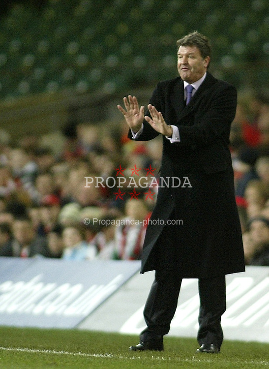 CARDIFF, WALES - WEDNESDAY FEBRUARY 9th 2005: Wales' manager John Toshack directs his team during the International Friendly match at the Millennium Stadium with Hungary. (Pic by Jason Cairnduff/Propaganda)