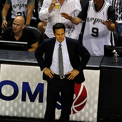 Jun 16, 2013; San Antonio, TX, USA; Miami Heat head coach Erik Spoelstra reacts during the second quarter of game five in the 2013 NBA Finals against the San Antonio Spurs at the AT&T Center. Mandatory Credit: Derick E. Hingle-USA TODAY Sports
