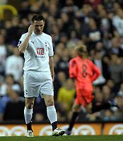 Photo: Paul Thomas.<br /> Tottenham Hotspur v Sevilla. UEFA Cup. Quarter Final, 2nd Leg. 12/04/2007.<br /> <br /> Robbie Keane of Spurs shows his dejection.