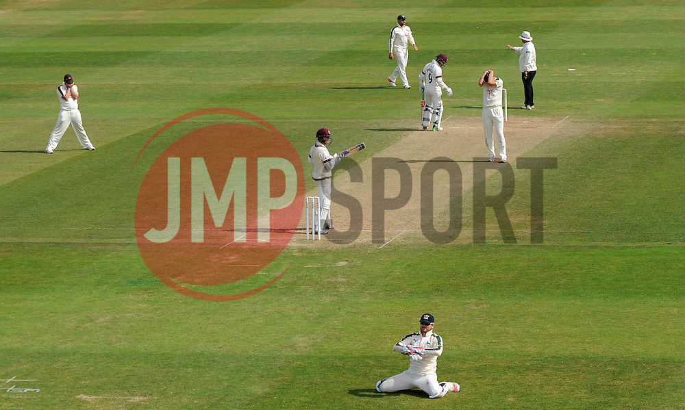 Dejection for Nottinghamshire's Will Gidman as a chance goes begging. - Photo mandatory by-line: Harry Trump/JMP - Mobile: 07966 386802 - 16/06/15 - SPORT - CRICKET - LVCC County Championship - Division One - Day Three - Somerset v Nottinghamshire - The County Ground, Taunton, England.