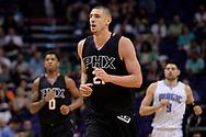 Mar 17, 2017; Phoenix, AZ, USA; Phoenix Suns center Alex Len (21) runs up the court   in the first half of the NBA game against the Orlando Magic at Talking Stick Resort Arena. Mandatory Credit: Jennifer Stewart-USA TODAY Sports