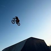 A BMX biker jumps at Kugenuma Skate Park, Fujisawa City, Kanagawa Prefecture, Japan.