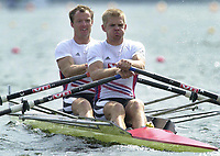 Roing<br /> Foto: Peter Spurrier/Sportsbeat Images/Digitalsport<br /> NORWAY ONLY<br /> <br /> 07/05/2004  - FISA World Cup - Poznan - Poland<br /> Start of the men's pair heats  Norway's [NOR M2X]  Nils-Torolv Simonsen [left] and Morten Adamsen move away from the start.