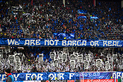 """SALZBURG, AUSTRIA - Tuesday, December 10, 2019: FC Salzburg supporters' banner """"We are not Barca or Real [Madrid]"""" during the final UEFA Champions League Group E match between FC Salzburg and Liverpool FC at the Red Bull Arena. (Pic by David Rawcliffe/Propaganda)"""