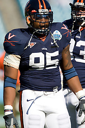Virginia defensive end Jeffrey Fitzgerald (95) before the start of the Gator Bowl.  The Texas Tech Red Raiders defeated the Virginia Cavaliers 31-28 in the 2008 Konica Menolta Gator Bowl held at the Jacksonville Municipal Stadium in Jacksonville, FL on January 1, 2008.