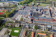 Nederland, Flevoland, Gemeente Dronten, 01-05-2013; Dronten, winkelcentrum met Gemeentehuis en Kerkcentrum Open Hof (met toren).  Winkelhart van Dronten: winkelcentrum SuyderSee. <br /> Shopping mall Suydersee in Dronten, church center and tower (m).<br /> <br /> luchtfoto (toeslag op standard tarieven);<br /> aerial photo (additional fee required);<br /> copyright foto/photo Siebe Swart