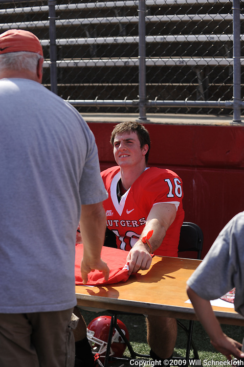 Apr 18, 2009; Piscataway, NJ, USA; Rutgers WR Andrew DePaola (16) signs autographs for fans following Rutgers' Scarlet and White spring football scrimmage.