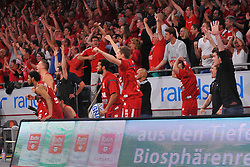 21.06.2015, Brose Arena, Bamberg, GER, Beko Basketball BL, Brose Baskets Bamberg vs FC Bayern Muenchen, Playoffs, Finale, 5. Spiel, im Bild Die Bank der Brose Baskets Bamberg bejubelt den entscheidenden Treffer kurz vor Ende des Spiels. // during the Beko Basketball Bundes league Playoffs, final round, 5th match between Brose Baskets Bamberg and FC Bayern Muenchen at the Brose Arena in Bamberg, Germany on 2015/06/21. EXPA Pictures &copy; 2015, PhotoCredit: EXPA/ Eibner-Pressefoto/ Merz<br /> <br /> *****ATTENTION - OUT of GER*****