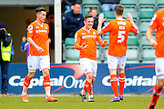 Luton Town's Jack Marriott celebrates scoring the opening goal to give the away team a 1-0 lead during the Sky Bet League 2 match between Plymouth Argyle and Luton Town at Home Park, Plymouth, England on 19 March 2016. Photo by Graham Hunt.