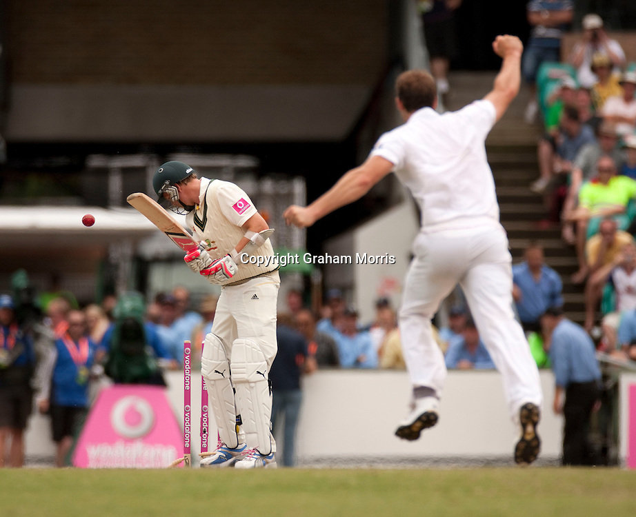 Last man Michael Beer is bowled by Chris Tremlett as England beat Australia in the fifth and final Ashes Test match at the SCG in Sydney to win the series 3-1. Photo: Graham Morris (Tel: +44(0)20 8969 4192 Email: sales@cricketpix.com) 07/01/11