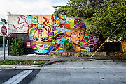 A mural depicting the faces of two beautiful women -- one upside down -- on a wall in Miami's beginning to redevelop Buena Vista West neighborhood just north of Wynwood