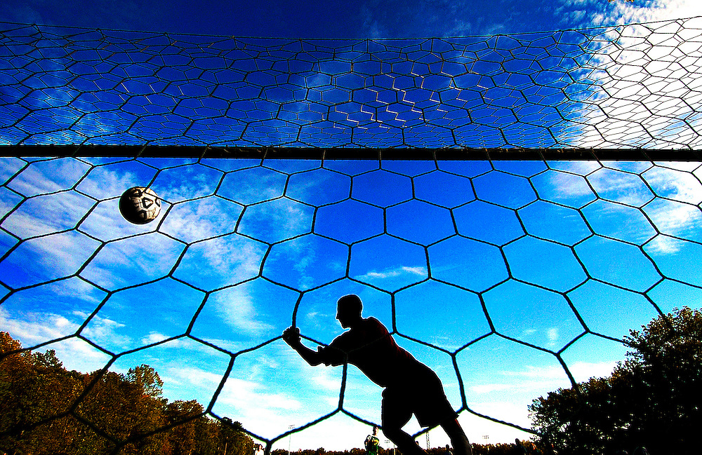 Jackson Memorial goalkeeper Mike Folk dives for the ball in a penalty kick during the second half of the game against Brick Township at Jackson Memorial High School in Jackson, New Jersey on October 8, 2008.