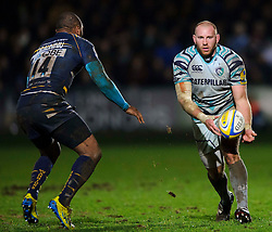 Worcester Winger (#14) Josh Drauniniu challenges Leicester Hooker (#2) Rob Hawkins during the second half of the match - Photo mandatory by-line: Rogan Thomson/JMP - Tel: Mobile: 07966 386802 04/01/2012 - SPORT - RUGBY - Sixways - Worcester. Worcester Warriors v Leicester Tigers - Aviva Premiership.