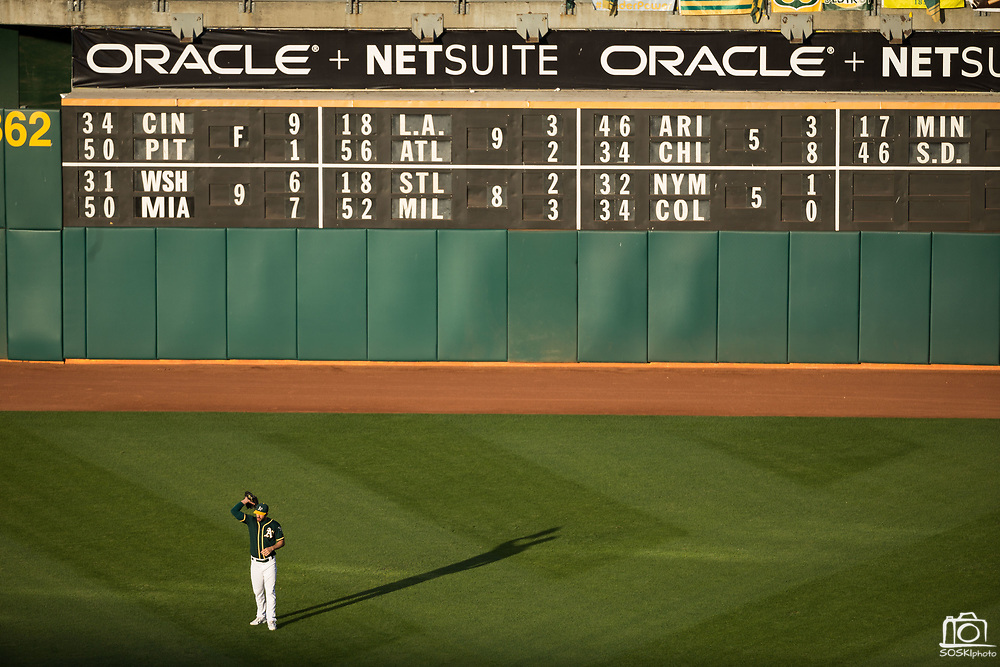 Oakland Athletics right fielder Matt Joyce (23) stretches in right field during a MLB game against the San Francisco Giants at Oakland Coliseum in Oakland, California, on August 1, 2017. (Stan Olszewski/Special to S.F. Examiner)