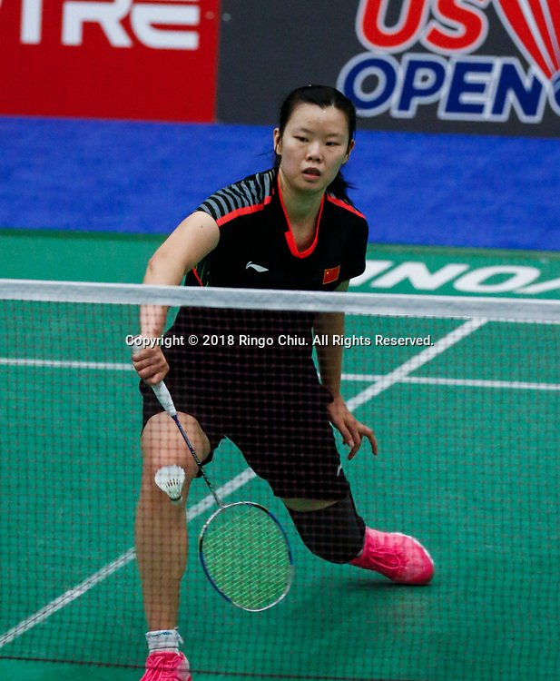 LI Xuerui of China, competes against Michelle Li of Canada, during the women's singles semi final match at the U.S. Open Badminton Championships on Saturday, June 16, 2018 in Fullerton, California.  Li 2-0 advance to final. (Photo by Ringo Chiu)<br /> <br /> Usage Notes: This content is intended for editorial use only. For other uses, additional clearances may be required.