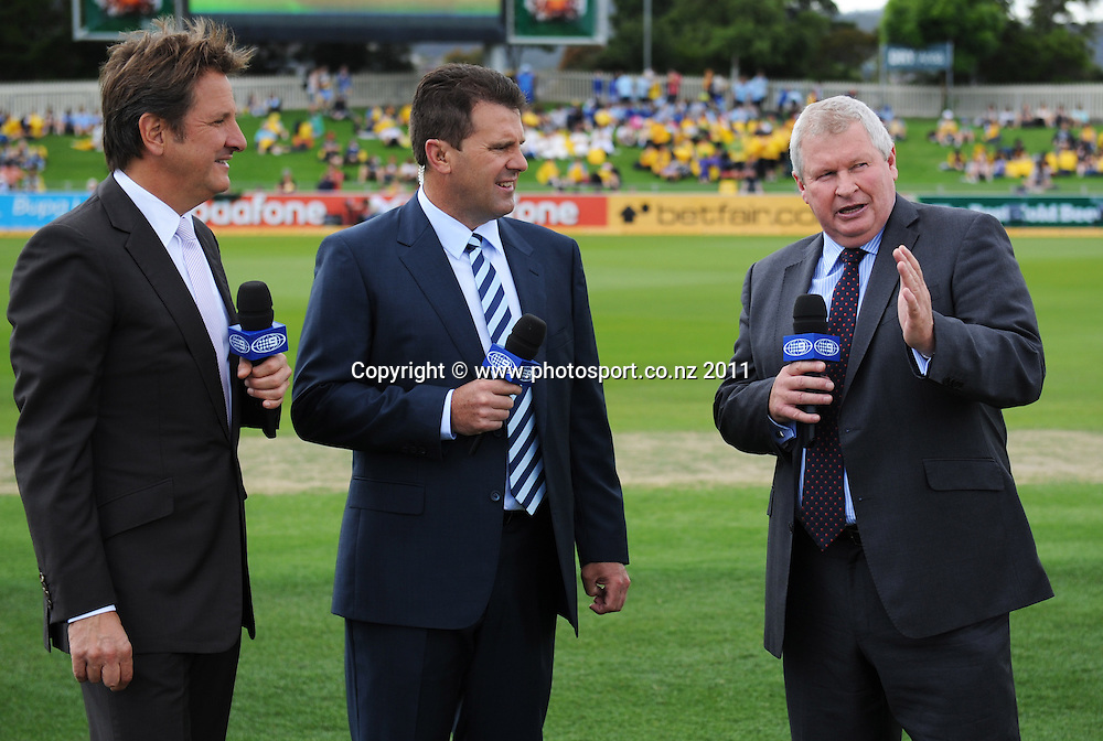 Cricket Commentators Mark Nicholas, Mark Taylor and Ian Smith on Day 1 of the second cricket test between Australia and New Zealand Black Caps at Bellerive Oval in Hobart, Friday 9 December 2011. Photo: Andrew Cornaga/Photosport.co.nz