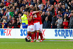 Nottingham Forest players celebrate the goal of Danny Fox of Nottingham Forest - Mandatory by-line: Ryan Crockett/JMP - 22/09/2018 - FOOTBALL - The City Ground - Nottingham, England - Nottingham Forest v Rotherham United - Sky Bet Championship