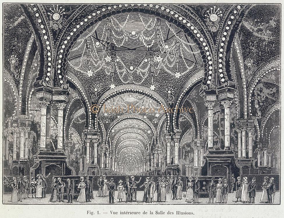 La Salle des Illusions', Paris, September 1900. Illustration showing the electrical illuminations at the International Exhibition, Paris, 1900.From 'La Nature' (Paris, 1 September 1900).