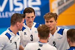 Marius den Hartog #3 of Sliedrecht Sport, Wessel Anker #6 of Sliedrecht Sport, Rick van der Sluis #2 of Sliedrecht Sport celebrate in the second round between Sliedrecht Sport and Draisma Dynamo on February 29, 2020 in sports hall de Basis, Sliedrecht