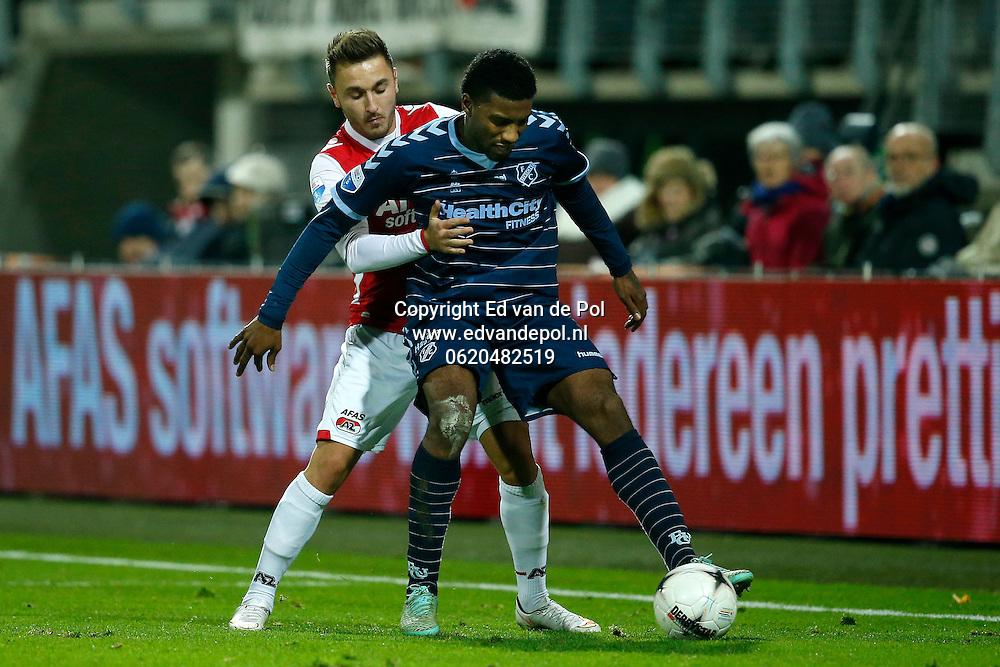 ALKMAAR - 20-12-2014 - AZ - FC Utrecht,  AFAS Stadion, 0-3, AZ speler Muamer Tankovic (l), FC Utrecht speler Gevero Markiet (r).