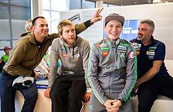 Tomaz Verdnik, Marjan Jelenko, Anze Lanisek Zaba during official presentation of the outfits of the Slovenian Ski Teams before new season 2016/17, on October 18, 2016 in Planica, Slovenia. Photo by Vid Ponikvar / Sportida