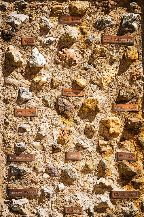Ore samples at the San Juan County Historical Society Museum, Silverton, Colorado USA