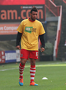 "Charlton Player Francis Coquelin wears a ""kick it out"" shirt to back footballs fight against racism before the Sky Bet Championship match between Charlton Athletic and Ipswich Town at The Valley, London, England on 29 November 2014."
