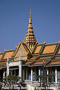 A building on the grounds of The Royal Palace stands off limits to visitors in Phnom Penh, Cambodia.